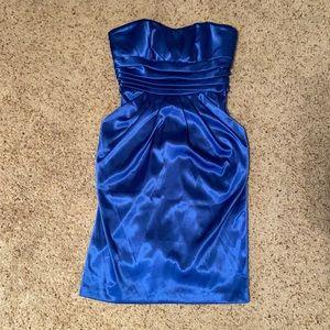 Betsy & Adam Royal Satin Blue Strapless Dress